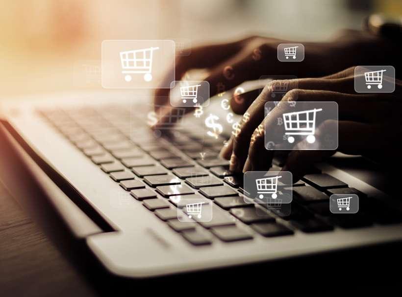 Businesswoman laptop using , online shopping concept.